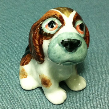 Miniature Ceramic Dog Beagle Puppy Sitting Animal Cute Little Tiny Small Brown White Statue Decoration Craft Collectible Hand Painted Figure