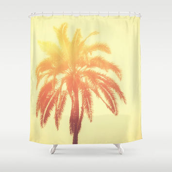 Golden Palm - Shower Curtain, Yellow and Orange Tropical Palm Tree Vanity Bathroom Coastal Home Decor Hanging Tub Curtain Accent. 71x74 inch