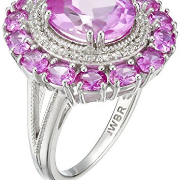 Sterling Silver Oval Shape Created Pink Sapphire with Round Created White Sapphire Cocktail Ring, Size 7