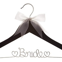 Bride Wedding Dress Hanger - Black with Silver Wire