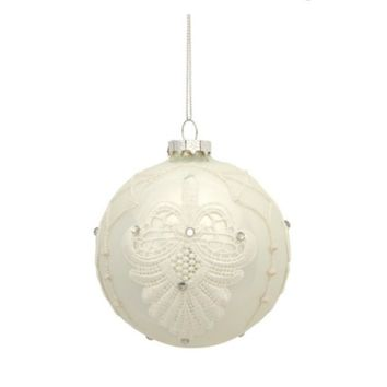 "4"" Shiny White Blooming Fleur de Lis Lace Decal Glass Ball Christmas Ornament"
