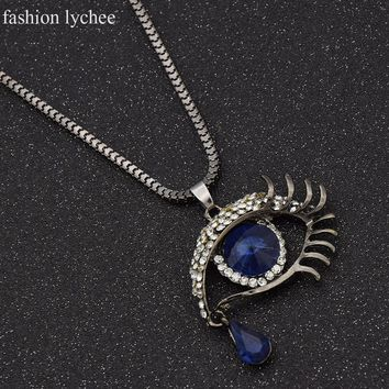 fashion lychee Women'Silver Color Blue Glass Evil Eye Crystal Pendant Chokers Necklace New Jewlery For Women