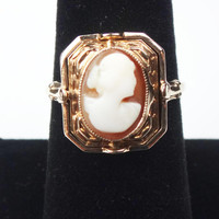 Vintage Cameo Ring 10k Gold Cameo Ring Vintage Flip Ring Shell Cameo Gold Ring Antique Gold Ring Vintage Gold Onyx Ring Two Sided Ring