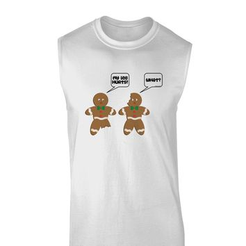 Funny Gingerbread Conversation Christmas Muscle Shirt