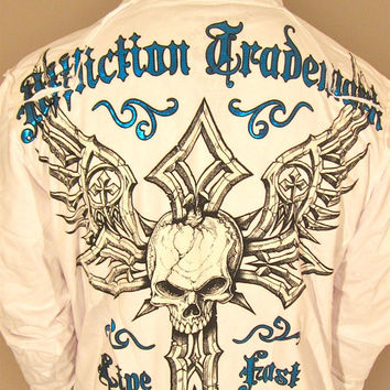 Affliction Damma Zip Up Hoodie in White