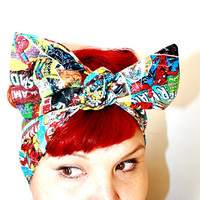 Bow hair tie, Vintage Inspired Head Scarf, Vintage Comic Book Covers, The Avengers, The Hulk, Iron Man, Spider Man, Thor