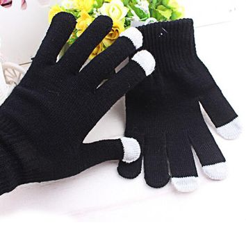 1 Pair Women/Men High Quaity Touch Screen Gloves Fashion Wrist Casual Gloves Tablet Warm Knit Winter Mitten For Smart Phone