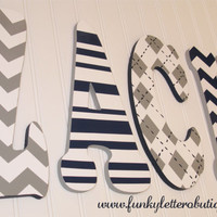 Chevron Painted Wooden Nursery Letters