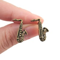 Saxophone Shaped Rhinestone Stud Earrings in Brass | Music Themed Jewelry