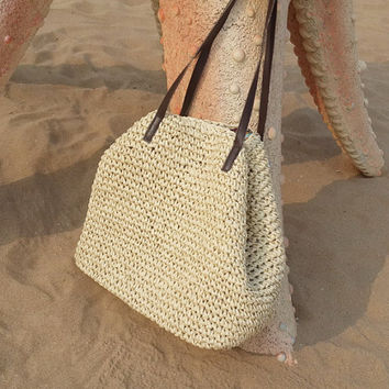 Hand-woven Beach bag/Ladies Hand-woven Shopping Beach Basket Fully Lined Straw Bag /