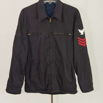 Vintage Military Jacket Men's Navy Blue Zip Front Patches