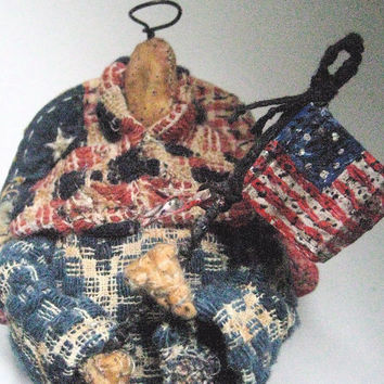 "OOAK Primitive Folk Art Angel-""PRAIRIE ANGEL with Flag""-- Original Handcrafted From Antique Coverlet with Handmade Flag"