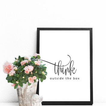 Typography print, Typography quotes, Typography poster, Wall art quotes, Black and white prints, Typography wall art, Think outside the box