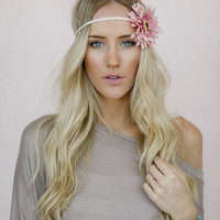 Braided Daisy Flower Crown, Boho Music Festival Headband Hair Accessories, Fashion Headbands with Flowers, Daisy Crown in Pink (HB-3733)