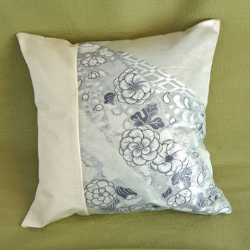 White with Indigo Blue Floral Pattern Kimono Tango Pillow Cover (Japanese Silk Kimono Obi; Made in Japan; Kimono Pillow; Japanese pillow))