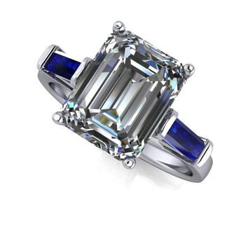 Russian Brilliants Ava Three Stone Ring Emerald Cut with Sapphire