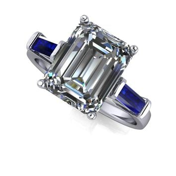 Three Stone Ring Emerald Cut with Sapphire - Celestial Premier Emerald Cut Moissanite Ring