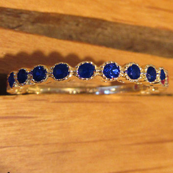 Anniversary Gift, Sapphire Ring,Eternity Ring, Eternity Band, 14K Yellow Gold, 15 stones, Natural Sapphire, September Birthstone