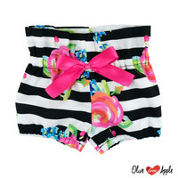 Black and White Stripes with Fuchsia Floral High Waist Bloomers