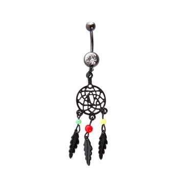 14G Rasta Dream Catcher Curved Navel Barbell | Hot Topic