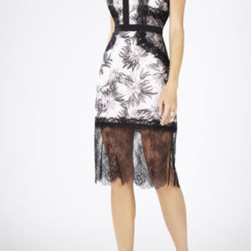 Shawna Sleeveless Round-Neck Lace Applique Dress