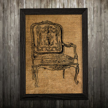 Furniture poster Chair print Victorian print Burlap decor BLP652