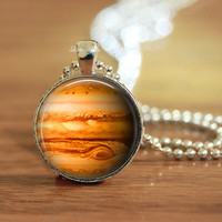Jupiter necklace, planet pendant, solar system keychain, unisex gift, silver or bronze, bag accessories