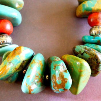 Vintage Barse Necklace with Turquoise Sterling Coral and Leather