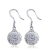 2016 New Shamballa Earring Micro Disco Ball Shamballa Crystal Drop Earrings For Women Fashion Jewelry Silver Plated Long Earring