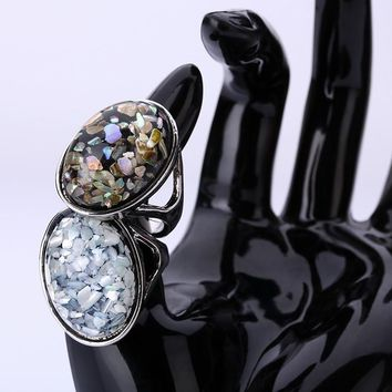 2Pcs New Arrival 2016 Silver Plated Fashion Jewelry Elegant White Natural Shell Big Stone Rings For Women/Men Size 7,8,9,10,11