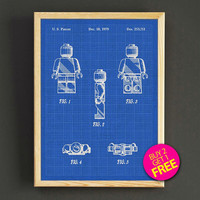 Lego Minifigures Patent Print Lego Mini Figure Blueprint Poster House Wear Wall Art Decor Gift Linen Print - Buy 2 Get FREE -314s2g