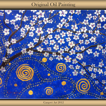 "Original Impasto Painting - Night Pearl Tree - Abstract Modern Art - Mixed Media - 26.8"" x 19.7"""