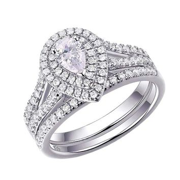 Pear Shape 1.2Cts Cubic Zirconia Wedding Ring Set Sterling Silver Engagement For Women