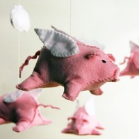 flying pig mobile by elenicreative on Etsy