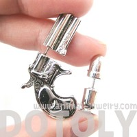 Unique Gun and Bullet Shaped Fake Gauge Stud Earrings in Shiny Silver
