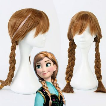 High Quality Anime Cosplay Princess Elsa Anna Wig Blonde Brown Braided Synthetic Fake Hair Halloween Costume Wigs For Adult