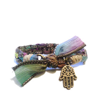 Hamsa Silk Ribbon Bracelet Original OOAK Hand of Fatima Yoga Jewellery Colorful Bohemian Hemp Unique Handmade Yogi Gift For Her Christmas