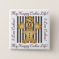 Cute Team Cookie Cartoon Stripes Personalized Kids Button