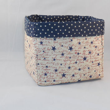 Patriotic Red White and Blue Fabric Basket For Storage or Gift Giving