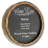 Wine List Quarter Barrel Chalkboard Sign