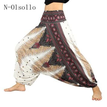 Hot! White 3D Palazzo Dot Printed Harem Pants Vintage 2017 Yuga Wide Leg Pants Casual Loose Bottoms For Women High Waist Trouser