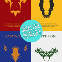 SALE 4 FOR 3 The Houses of Hogwarts: All Four Houses Minimalist Harry Potter Poster