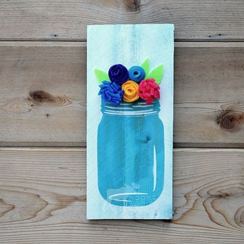 Rustic Wood Mason Jar Flowers Wall Art - Felt flowers, reclaimed wood, distressed wall decor, country chic, aqua, kitchen art,spring,summer