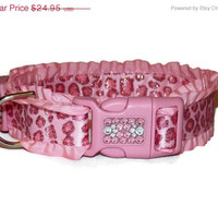 ON SALE Dog Collar - Pink Sparkly Leopard with Swarovski Crystal - Ribbon