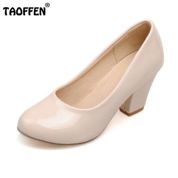 TAOFFEN Size 32-48 9 Colors women High Heels shoes Round Toe Patent Leather Thick High Shoes Women Pumps classic Dress Footwears 1