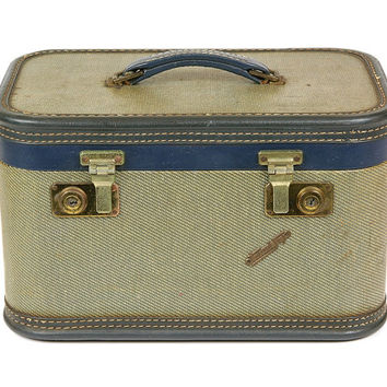 Vintage Tweed and Navy Blue Cosemetic Train Case / Stacking Luggage Suitcase by Travel Joy