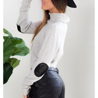 Patch me up Jumper in Grey Marle