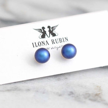 Blue Earrings, Blue Pearl Earrings, Bridal Blue Navy Stud Earrings, Bridesmaids Earrings, Blue Stud Earrings, Bridal Something Blue