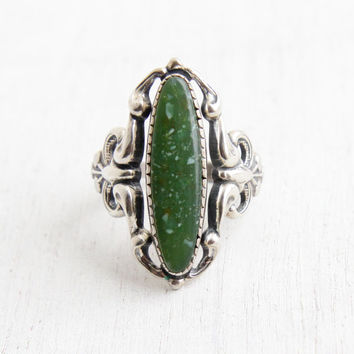 Vintage Sterling Silver Green Stone Ring - Size 7 1/2 Retro Hallmarked Beau Faux Turquoise Filigree Statement Jewelry