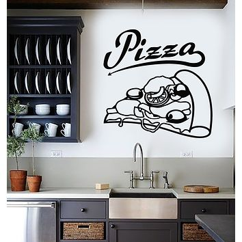 Vinyl Wall Decal Italian Pizza Hot Food Pizzeria Store Cuisine Stickers Mural (g2934)